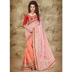 Georgette Thread Work Orange & Peach Half & Half Saree - 51005