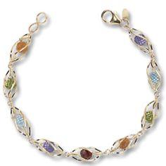 Mills Jewelers: Premier online jeweler.Caged Multi Gem Bead 14k Golg Bracelet 14k Yellow Gold 7.5 inch Bracelet with gemstone beads inside cage links-2 Amethyst, 2 Peridot, 2 Blue Topaz, 1 Garnet and 2 Citrine; Add it to your wishlist here: https://www.millsjewelers.com/wish.php?id=28825