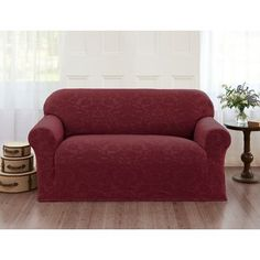Alcott Hill Velvet Damask Loveseat Cover Color: Burgundy