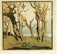 """✨ Margarete Braumüller-Havemann, German (1877- vor 1955) - Herbst, wohl 1950er Jahre. Farbholzschnitt auf Japan. Im Stock u.re. monogrammiert """"MH"""", neben der Darstellung li. in Blei signiert """"M. Braumüller-Havemann"""". Auf originalem Untersatzpapier montiert, vorderseitig von fremder Hand bezeichnet, verso von der Künstlerin signiert, betitelt und bezeichnet. 28,9 x 30 cm ::: Autumn, colour woodblock, approx. 1950s"""