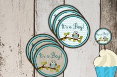 Owl Baby Shower Cupcake Toppers - Brown and Teal - Print yourself instant download - http://babyshower-cupcake.com/owl-baby-shower-cupcake-toppers-brown-and-teal-print-yourself-instant-download/