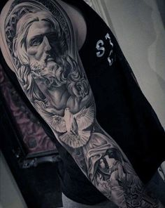 50 Jesus Sleeve Tattoo Designs For Men - Religious Ink Ideas Guys Christian Themed Jesus And Dove Full Sleeve Tattoo Ideas Jesus Tattoo Sleeve, Best Sleeve Tattoos, Tattoo Sleeves, Trendy Tattoos, New Tattoos, Tattoos For Guys, Tattoos Pics, Fake Tattoos, Tattoo Guys