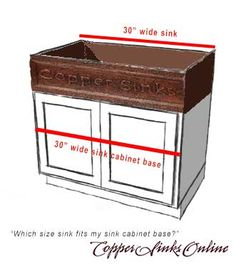Find the right size sink for your sink cabinet base. Read the guide at CopperSinksOnline.com