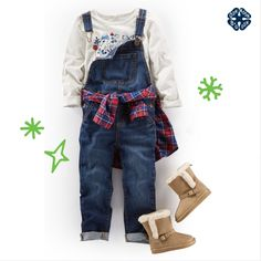 Overalls and a festive plaid for the win! Psst... this comes in sizes 4-14!