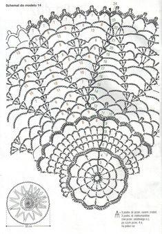 Kira crochet: Crocheted scheme no. Crochet Circles, Crochet Doily Patterns, Crochet Mandala, Crochet Chart, Crochet Motif, Crochet Doilies, Knitting Patterns, Crochet Lamp, Crochet Tablecloth