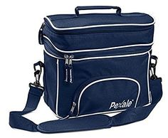 Wingsmarketshop (XL) LARGE INSULATED DOUBLE COMPARTMENT NAVY LUNCH BAG WITH ADJUSTABLE SHOULDER STRAP DESIGN NEW!
