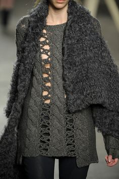 cool crochet / Designer Inspiration - Tess Giberson F/W12...knitted strips attached together with crochet