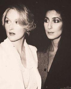 "Meryl Streep & Cher at the premiere of ""Silkwood"", 1983."