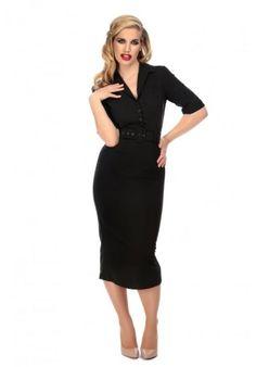Vestido Zoe Midi Pencil Negro Envío 24H.