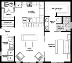 House Plans With In Law Suite Apartments Layout Ideas The Plan, How To Plan, Br House, Tiny House Living, House Bath, Living Room, Architecture 3d, Small House Floor Plans, One Bedroom House Plans