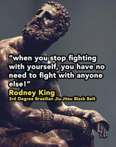 When you stop fighting with yourself. Jiu Jitsu Black Belt, Rodney King, Stop Fighting, Brazilian Jiu Jitsu, Martial Arts, Learning, Inspiration, Biblical Inspiration, Studying