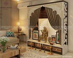 Puja Room by CEE BEE Design Studio, Interior Designer in Bangalore ,Karnataka, India Living Room Partition Design, Pooja Room Door Design, Room Partition Designs, Living Room Tv Unit Designs, Home Room Design, Interior Design Studio, Room Interior, Interior Ideas, Bedroom Bed Design