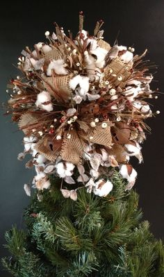 christmas tree topper tree topper rustic cotton cotton arrangement cotton tree topper - Rustic Christmas Tree Topper