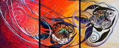 The Chase (2015) Original acrylic painting on three 16x20 inch stretched canvases.  Triptych, 20x48 inches, total.  Ready-to-hang, w/fully-painted edges. More pics and info: http://www.ipaintfish.com/2015_originals/0019_triptych_thechase_2015_page.htm