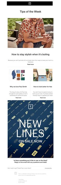 Thread Email - Your heatwave style guide Email Design, Keep Your Cool, Style Guides, How To Look Better, Design Inspiration, Board, Planks, Email Newsletter Design
