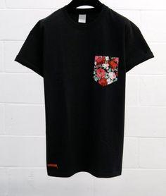 Men's Large Roses Pattern Black Pocket TShirt by HeartLabelTees, £9.95
