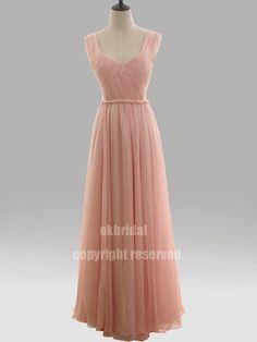 pink prom dress long prom dress chiffon prom dress by okbridal, $159.00