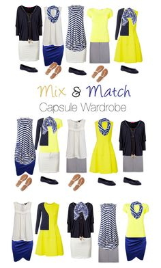 """Capsule Wardrobe: Yellow and Blue"" by mary-grace-see on Polyvore featuring Aventura, Lela Rose, Issey Miyake, Halogen, Phase Eight, Aéropostale, Old Navy and capsulewardrobe"