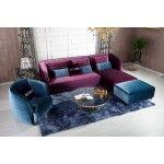 $2,365.00 Vig Furniture - Transitional Purple Floss Fabric Sectional Sofa Set - VGKNK8434
