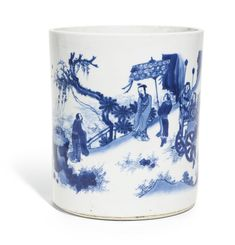 A large blue and white brushpot, Ming Dynasty, Chongzhen Period (1627-1644)