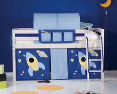 Space rocket bed with tunnel & den for a boy