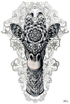 animal, art, dessin, girafe, blanc et noir
