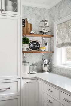 This little corner, awkward on plan, squeezed between a fridge and a window, became one of our clients favorite kitchen spots. With marble… Farmhouse Furniture, Kitchen Furniture, Kitchen Interior, Kitchen Desk Areas, Kitchen Shelves, Quartz Kitchen Countertops, Kitchen Backsplash, Kitchen And Bath, New Kitchen