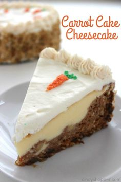 Carrot Cake Cheesecake - moist carrot cake with a hint of pineapple, coconut, raisins, and walnuts wrapped in a delicious cheesecake and then topped off with a perfect cream cheese frosting. Perfect Easter dessert.