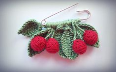 Crochet brooch cherrys with leaves/handmade/gift/accessories