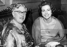 The British writer Agatha Christie with the actress Margaret Lockwood at London Saint-James Theatre, 1956 in London, United Kingdom