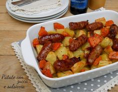 Patate+e+salsiccia+con+zucca+al+forno