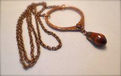Copper pendant necklace Scorched Earth porcelain dangle copper chain