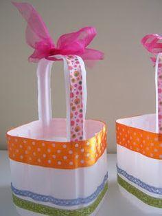 """""""canasta"""" de envases de plastico de los galones de leche    DIY Milk jug/Plastic Bottle Easter Basket"""