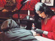 Tattoo time at @highvoltagetat w my homeboy @ttgopp. ❤️⚡️
