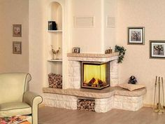 Modern fireplaces are gorgeous focal points of interior design and home staging that transform rooms and beautify home decorating ideas Living Room Decor Fireplace, Wooden Fireplace, Fireplace Shelves, Fireplace Built Ins, Farmhouse Fireplace, Home Fireplace, Fireplace Surrounds, Corner Fireplaces, Modern Fireplaces