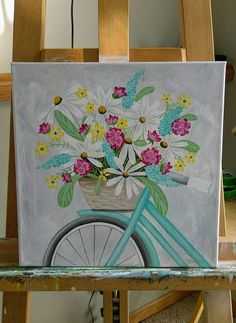 A pretty Spring 12x12 original acrylic painting on stretched canvas of a bicycle basket full of flowers. Unframed.
