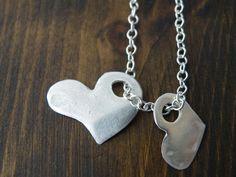 Fine Silver Hearts Pendants Sterling Silver Chain Romantic