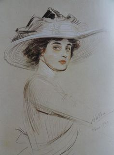 Portrait of woman. Italian pencil, sanguine and chalk. 1909 by Paul Cesar Helleu