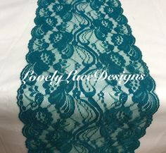 "Lace Table Runner, 3ft to 10ft long x 7"" wide/ TEAL/GREEN/Wedding Decor/PEACOCK weddings/ overlay/Weddings/Ends Not Sewn"