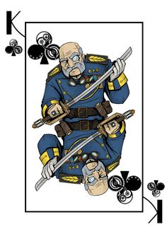 The King of Clubs from the Deck of Amazing Adventurers which is a fully custom 56 card steampunk themed Bicycle® playing card deck, manufactured by USPCC, currently funding on Kickstarter