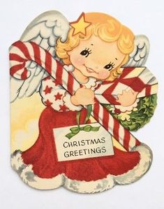 Vintage Christmas Card Die Cut Angel Girl Red Flocked Dress Candy Cane Present Vintage Christmas Ornaments, Christmas Gift Tags, Vintage Holiday, Christmas Greeting Cards, Christmas Greetings, Old Fashioned Christmas, Christmas Past, Christmas Angels, Vintage Greeting Cards