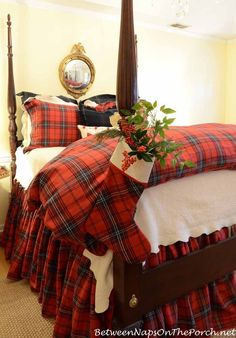 """Tartan Christmas Stocking On Bed Post. Christmas in the bedroom with Between Naps on the Porch """"I could live with this tartan print year round. Tartan Christmas, Noel Christmas, Country Christmas, All Things Christmas, Christmas Stockings, Xmas, Christmas Ideas, Christmas Bedding, Bedroom Decor"""