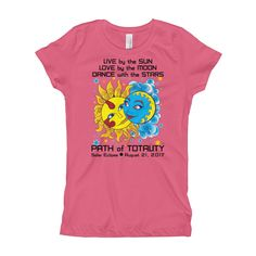 "Girl's Princess T-Shirt: ""Diego & Frida"" LIVE LOVE DANCE PATH of TOTALITY Solar Eclipse August 21, 2017"