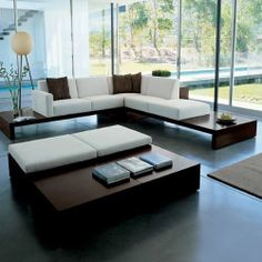 L Shape Couch with Wooden Base