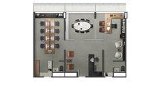 Planta de uma junção de 3 unidades, totalizando 103,61 m², com sugestão de decoração para um escritório de Advocacia
