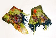Felted Mittens Green Cuffs nunofelt Silk Merino Wool от EsartFelt