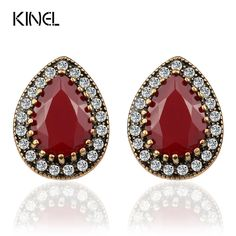 Indian Jewelry 2017 Designer Fashion Turquoise Earrings For Women Water Drop Green Resin Sale Wholesale Jewellery Mixed Lots