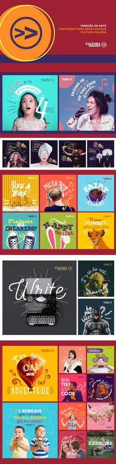Cultura Inglesa on Behance - Tap the link to shop on our official online store! You can also join our affiliate and/or rewards programs for FREE! Social Media Ad, Social Media Banner, Social Media Design, Social Media Graphics, Social Media Marketing, Instagram Banner, Instagram Feed, Web Design, Print Layout