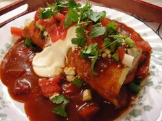 Wet Burritos- when I made this a second time I used savory gravy and the green enchilada sauce and it turned out more flavorful to me