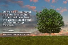 Don't be discouraged by your incapacity to dispel darkness from the world. - See more at: http://www.theartofancientwisdom.com/category/quotes/#sthash.C4ZR2yBz.dpuf